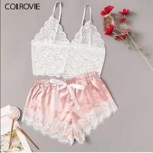 Lace Cami Top With Satin Shorts Lingerie Set 💕 💙